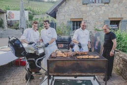 BBQ Grillbuffet bei der Weingut Hochzeit in Würzburg von Hochzeitsfotograf Conny Schöffmann Photography